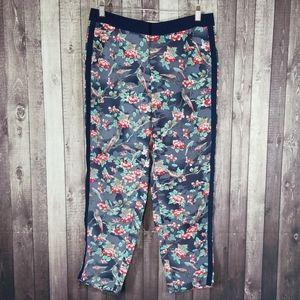 Elevenses bird & floral print tuxedo ankle pants